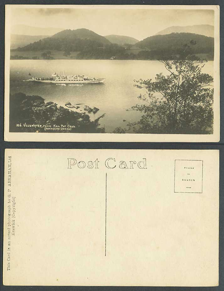 Ullswater from Krail Pot Kailpot Crag Cumbria Ferry Boat Old Real Photo Postcard