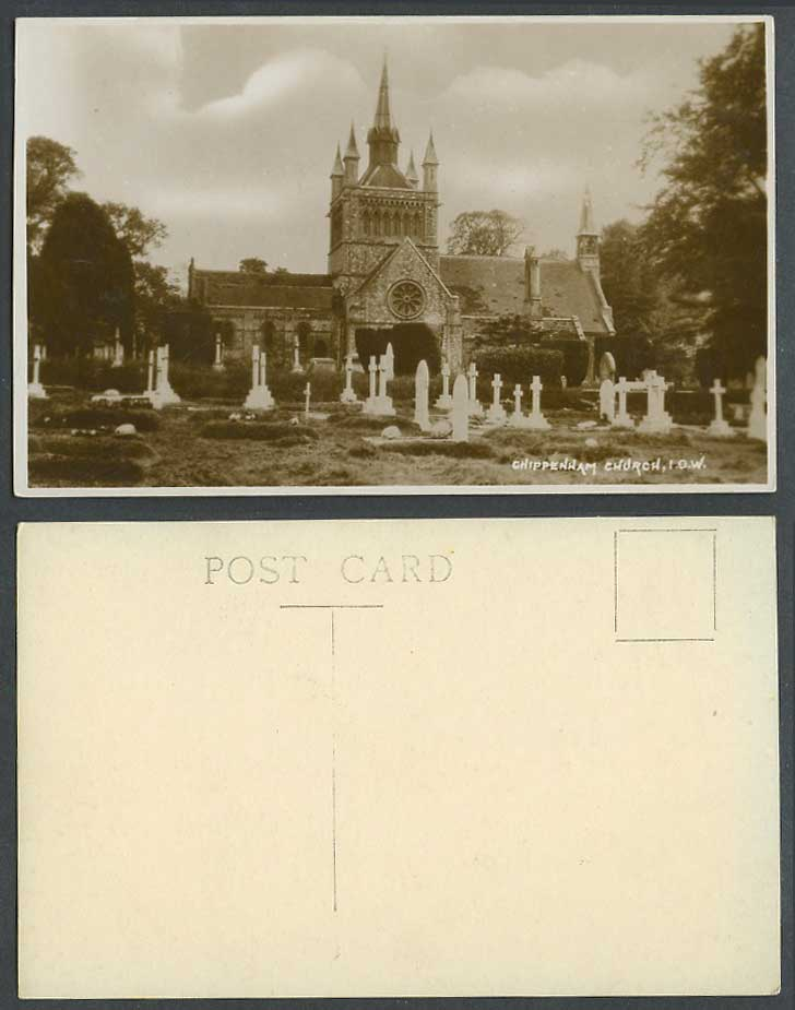 Isle of Wight, Chippenham Church Churchyard I.O.W. Cross Old Real Photo Postcard