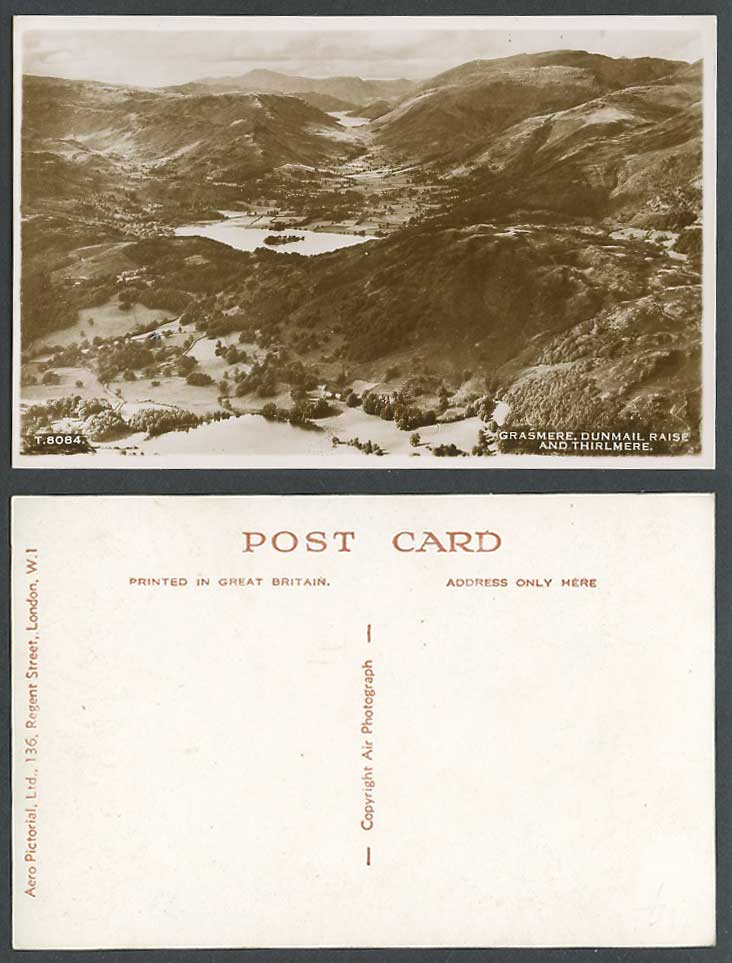 Grasmere, Dunmail Raise, Thirlmere Lake Panorama Cumbria Old Real Photo Postcard