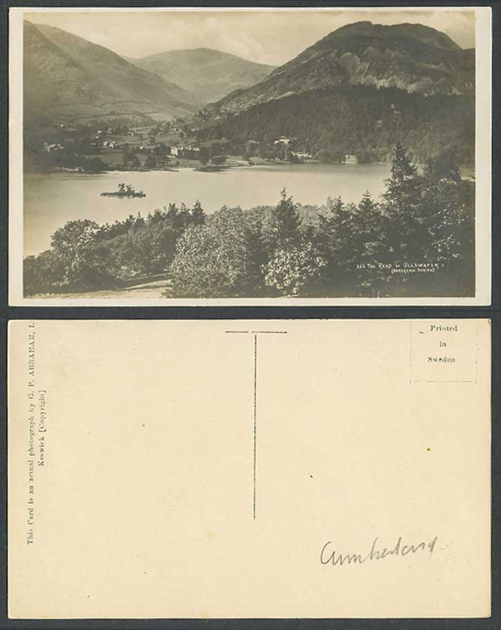 Head of Ullswater Lake Mountains Panorama Old Real Photo Postcard Abraham Series