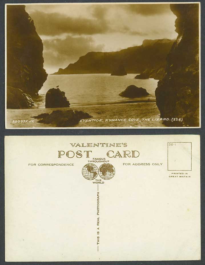 Kynance Cove The Lizard Eventide Rocks Panorama Cornwall Old Real Photo Postcard