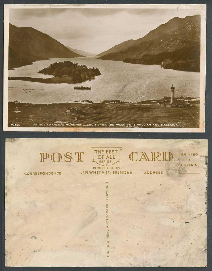 Prince Charlie's Monument Loch Shiel Between Fort William & Mallaig Old Postcard