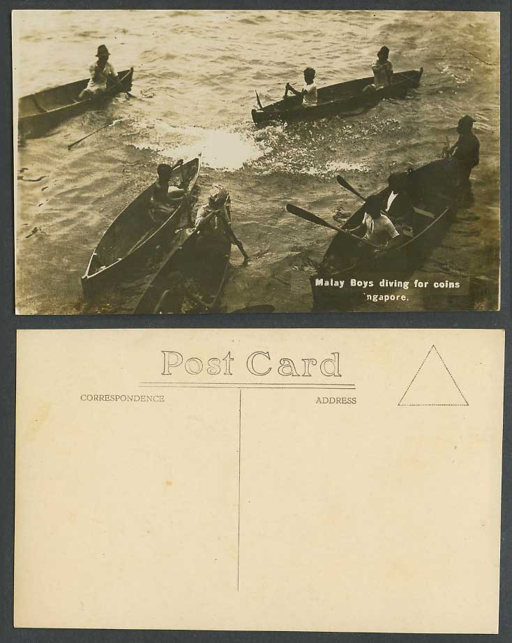 Singapore Old Real Photo Postcard Malay Boys Diving For Coins Rowing Boats Canoe