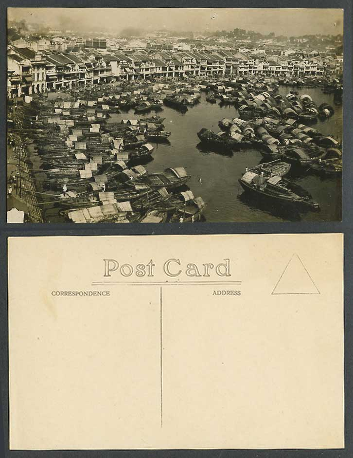Singapore Old Real Photo Postcard BOAT QUAY Harbour Sampans Native Boats Street