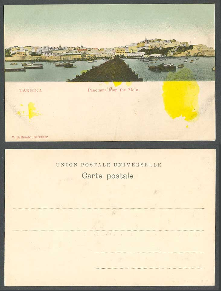 Morocco Old Colour UB Postcard Tangier Tanger Panorama from The Mole Boats Canoe
