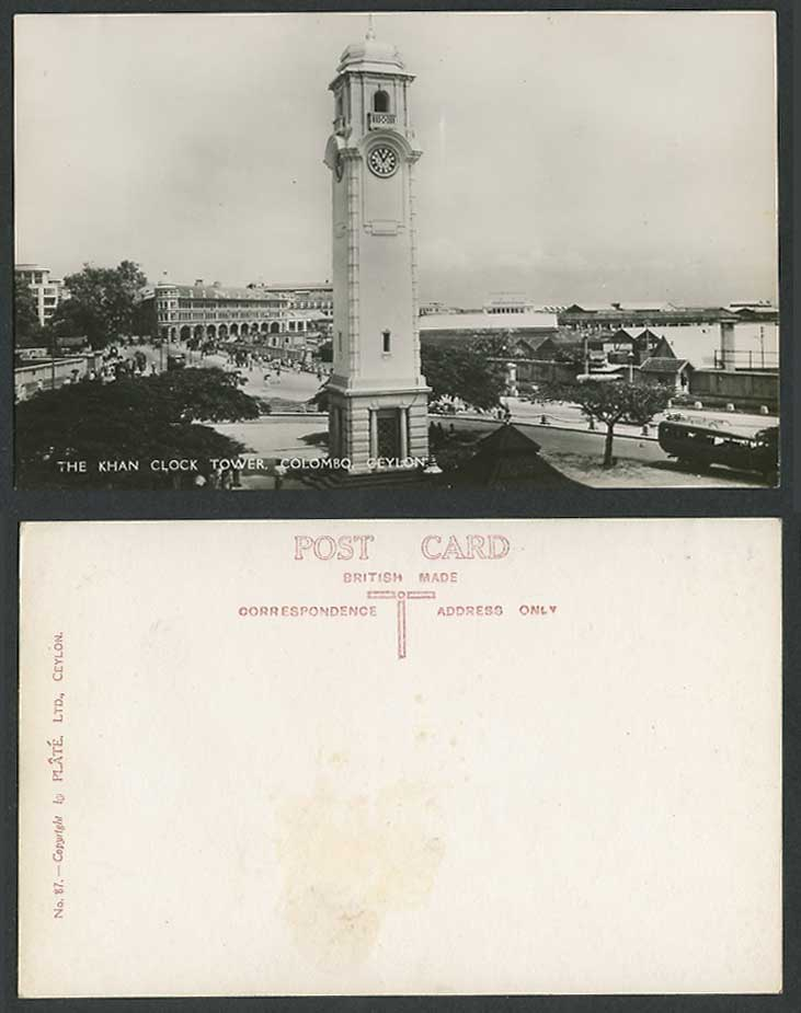 Ceylon Old Real Photo Postcard The Khan Clock Tower Colombo, Street Scene No. 87