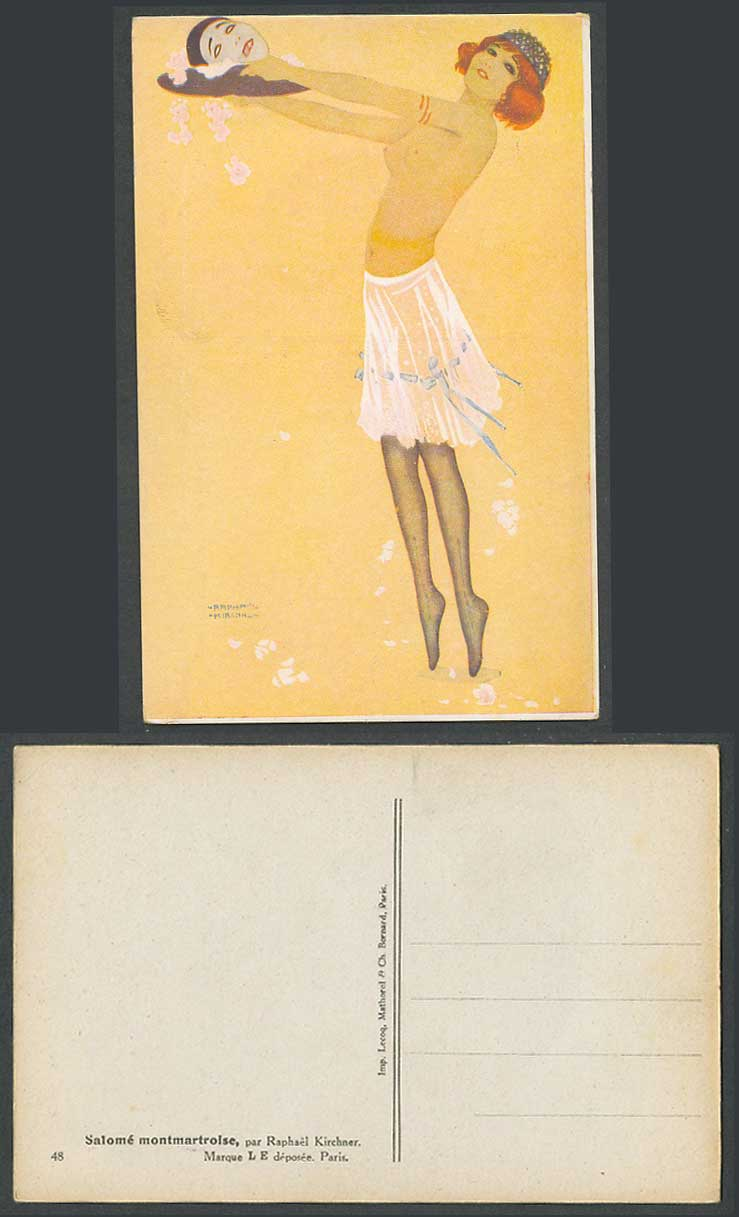Raphael Kirchner Old Postcard Glamour Lady Girl Tiptoe Mask Salome montmartroise