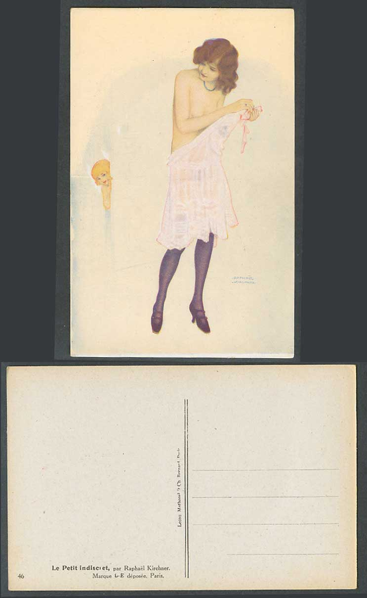Raphael Kirchner Old Postcard Le Petit Indiscret Indiscreet, Glamour Woman, Girl