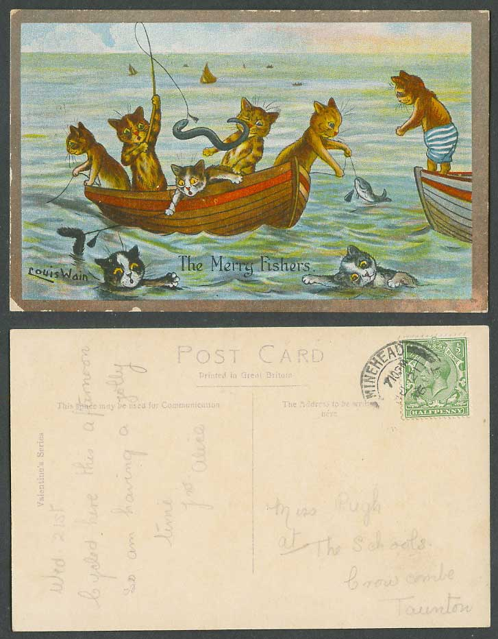 Louis Wain Artist Signed Cats, Merry Fishers Fish Fishing Boat 1916 Old Postcard