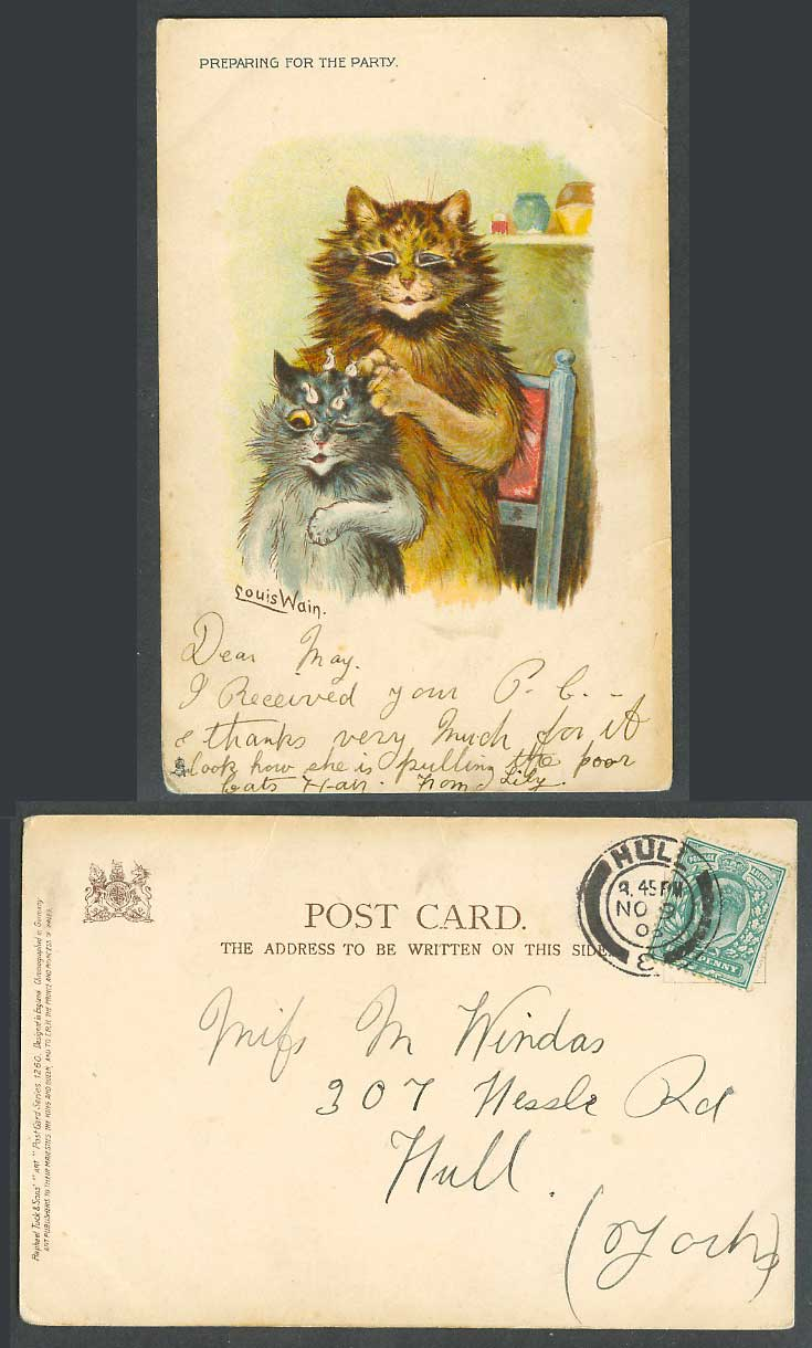 LOUIS WAIN Artist Signed Cats Kittens Preparing for Party 1903 Old Tuck Postcard