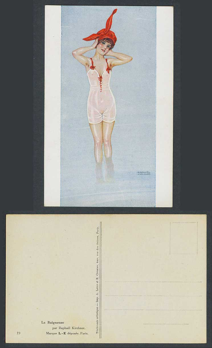 Raphael Kirchner Old Postcard La Baigneuse Bather Bathing Suits Glamour Woman 19