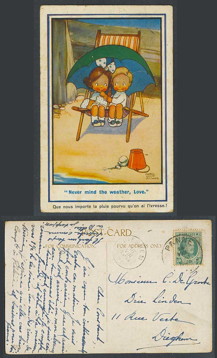 MABEL LUCIE ATTWELL Belgium 1923 Old Postcard Never Mind the Weather, Love 773/4