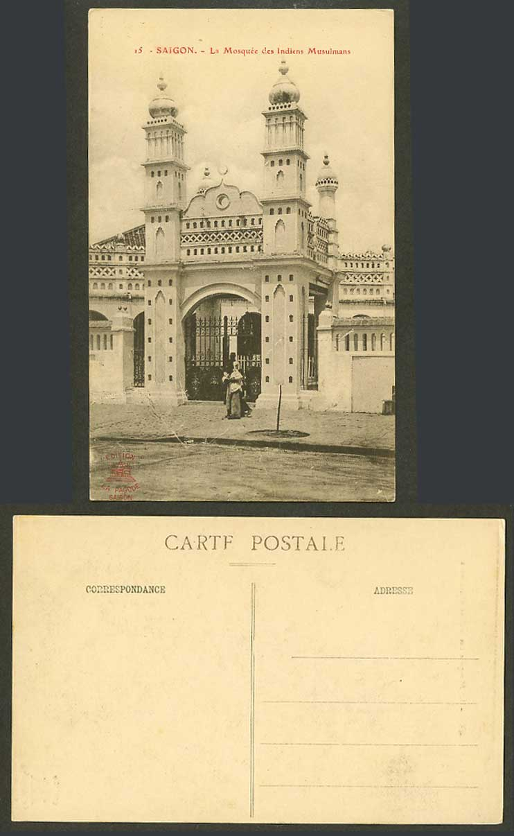 Indo-China Old Postcard Saigon Indian Muslim Mosque Mosquee des Indien Musulmans