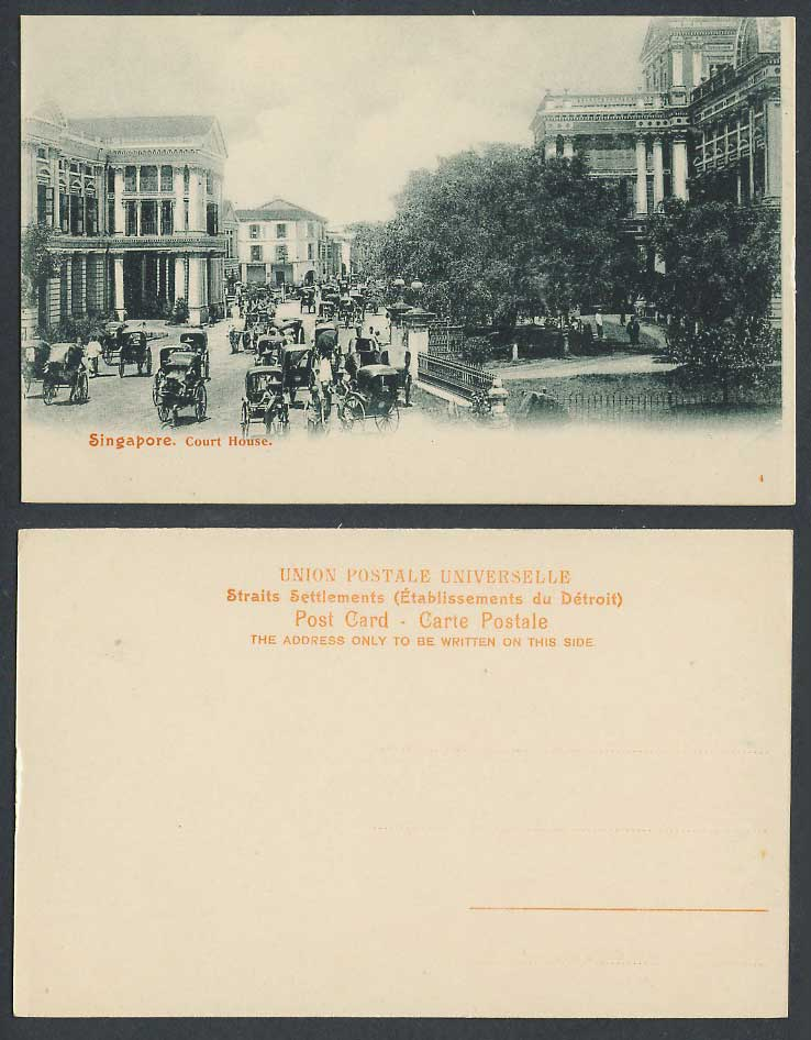 Singapore Old Postcard Court House South Bridge Road Street View Rickshaw Coolie