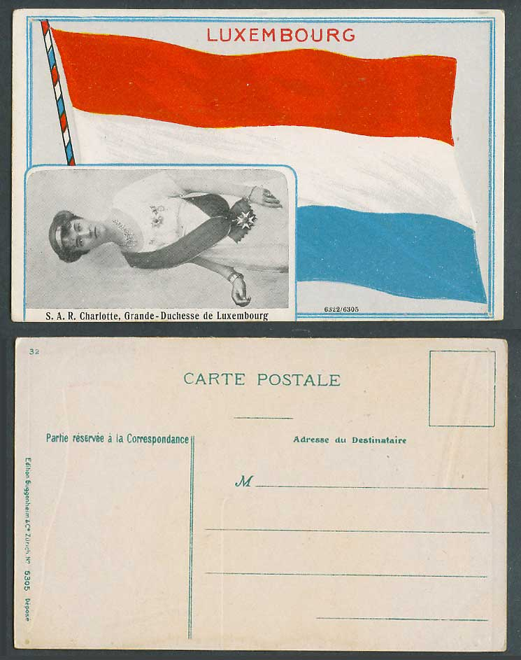 Luxembourg Old Postcard Flag S.A.R. Charlotte Grande-Duchesse Grand Duchess Lady