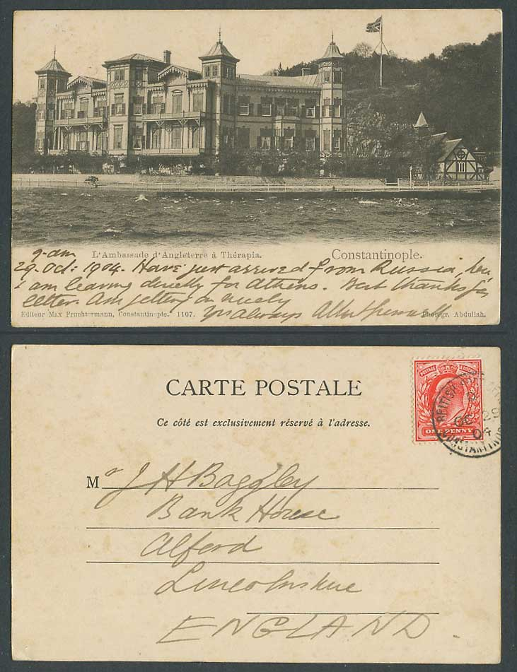 Turkey British Post Office Constantinople 1904 Old Postcard Br. Embassy Therapia