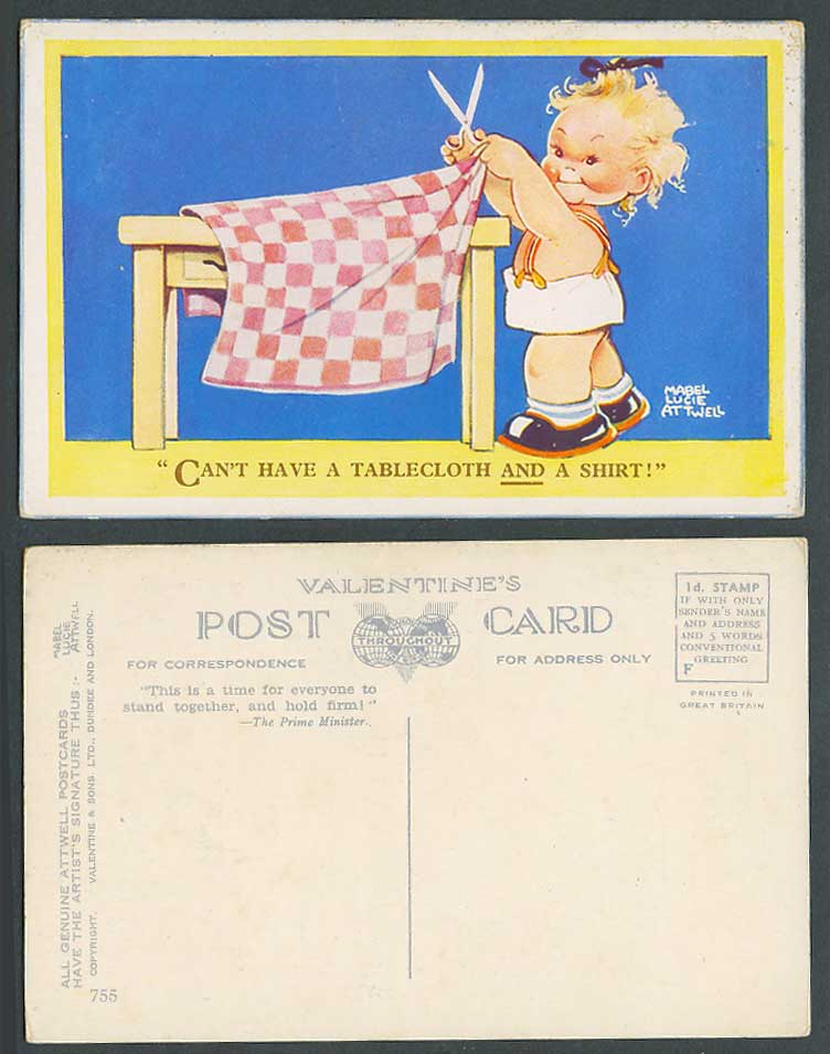 MABEL LUCIE ATTWELL Old Postcard Can't Have a Tablecloth & a Shirt! Scissors 755