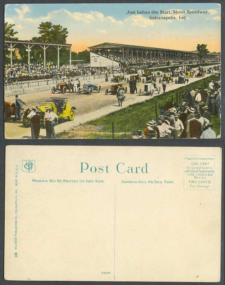 Car Race Racing, Just Before Start Motor Speedway Indianapolis Ind. Old Postcard