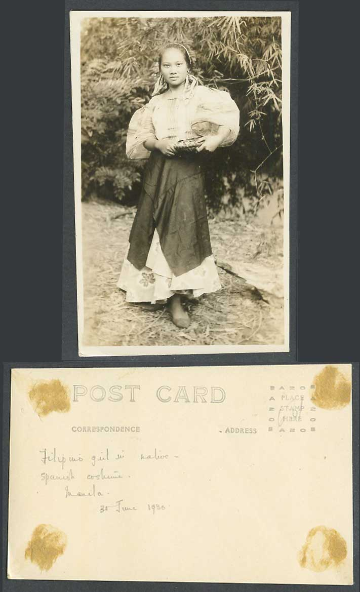Philippines 1930 Old Real Photo Postcard Filipino Girl, Spanish Costumes, Manila