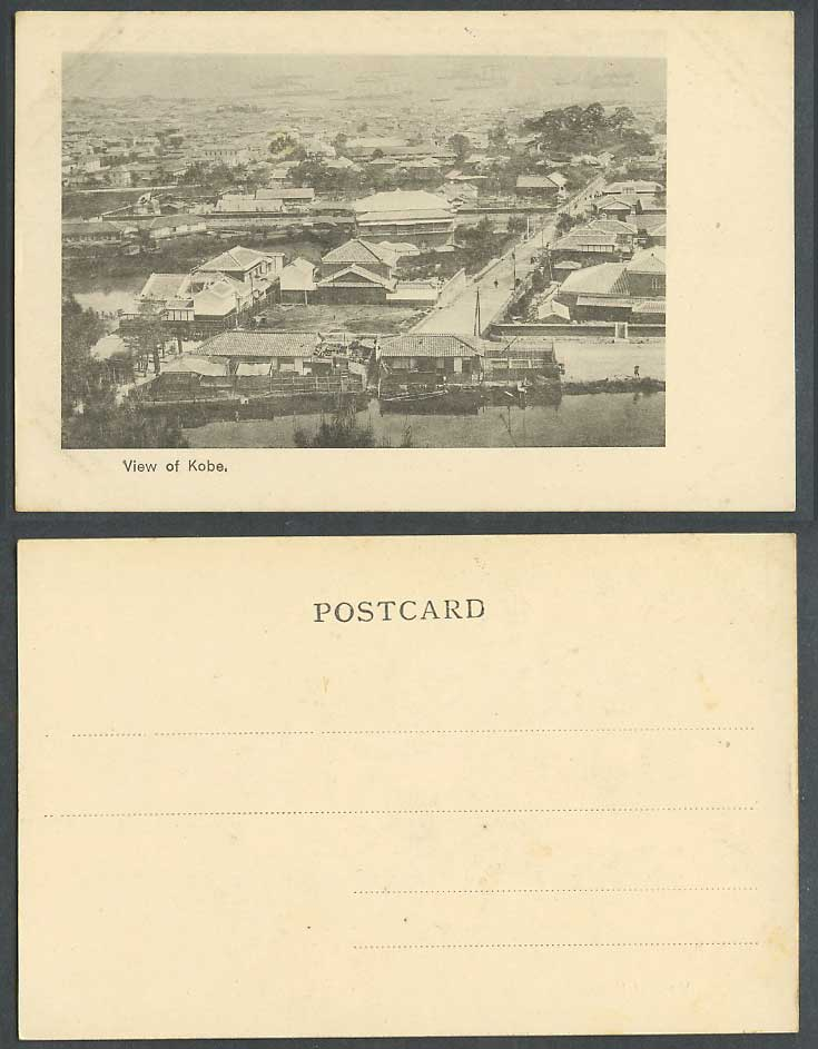 Japan Old UB Postcard Panorama General View of Kobe Street Scene River Bridge 神戶