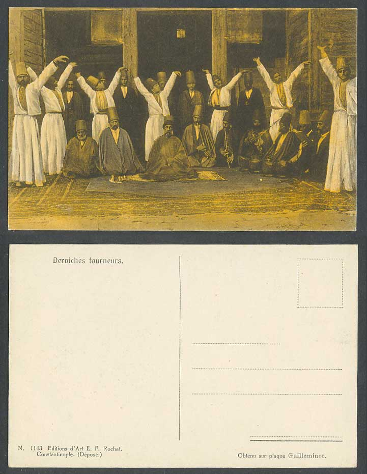 Turkey Old Colour Postcard Muslim Howling Whirling Derviches Tourneurs Musicians