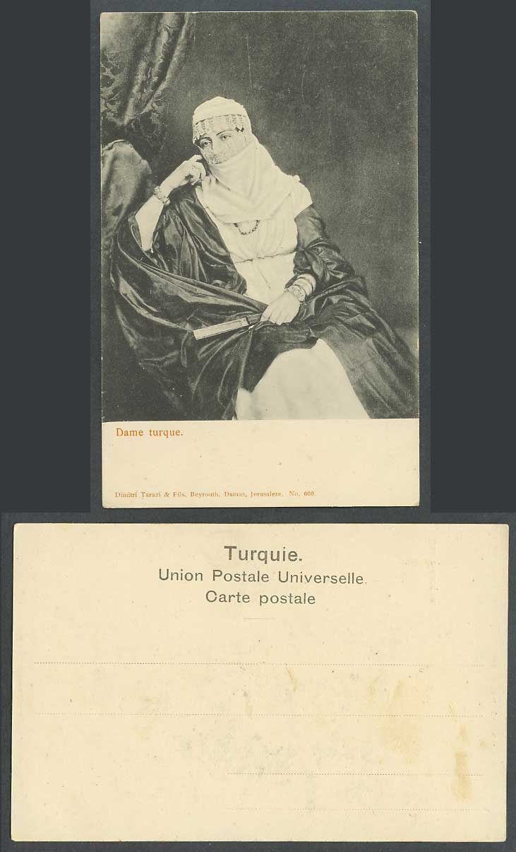 Turkey Old UB Postcard Dame Turque, Veiled Turkish Woman Lady with Fan, Costumes