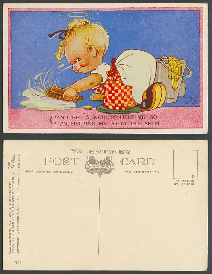 MABEL LUCIE ATTWELL Old Postcard Can't Get a Soul to Help Me, I Help Myself! 754