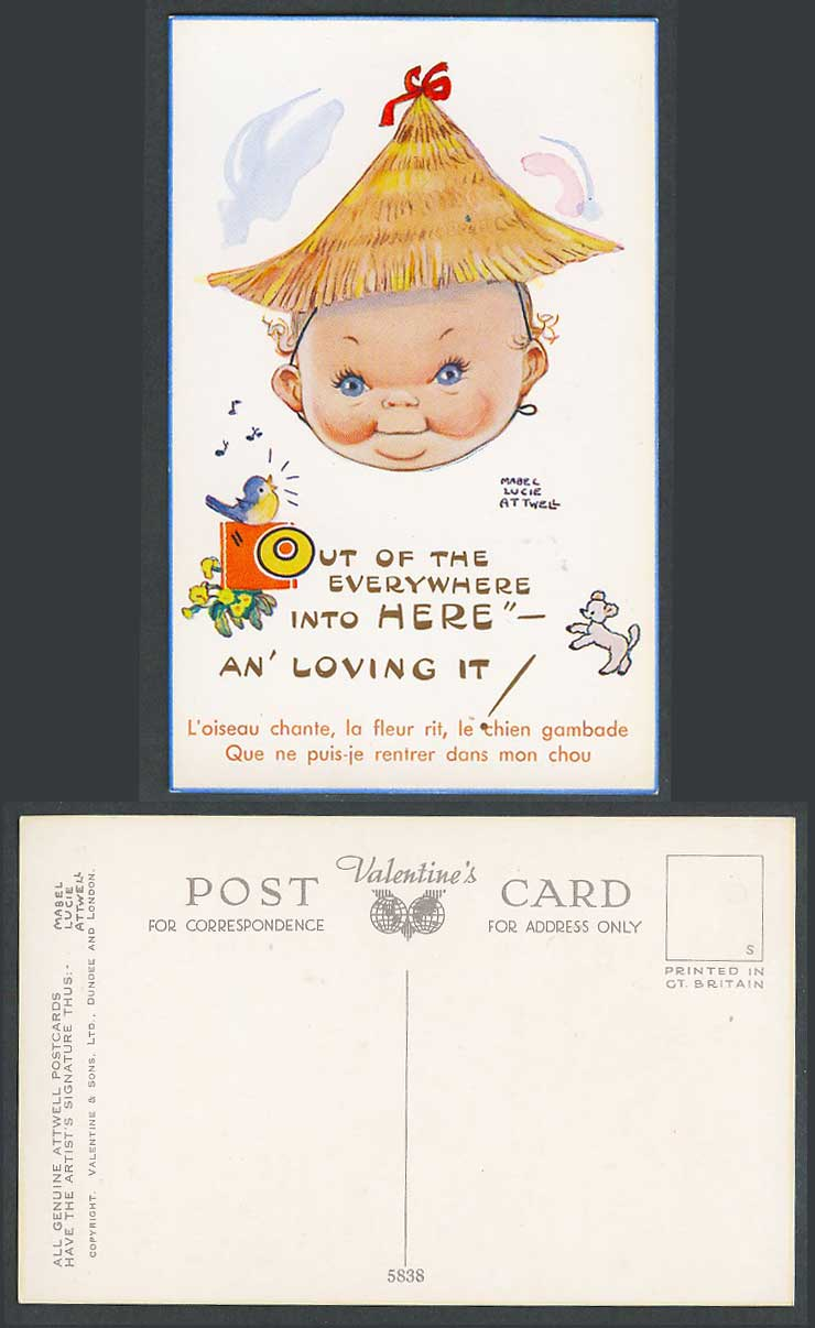 MABEL LUCIE ATTWELL Old Postcard Out of Everywhere Into Here, An' Loving It 5838