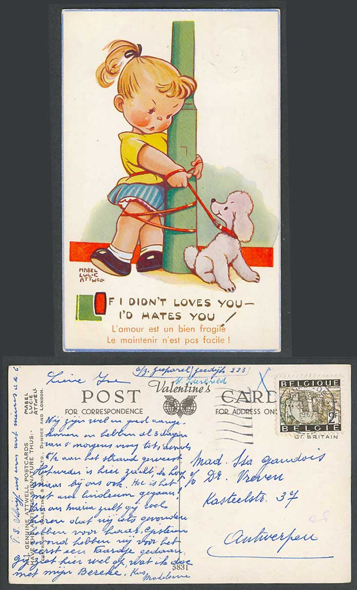 MABEL LUCIE ATTWELL 1967 Old Postcard POODLE DOG Puppy If I Didn't Love You 5831