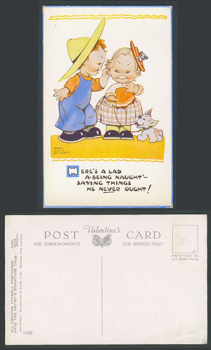 MABEL LUCIE ATTWELL Old Postcard Lad Being Naught Say Things Never Ought No.1543