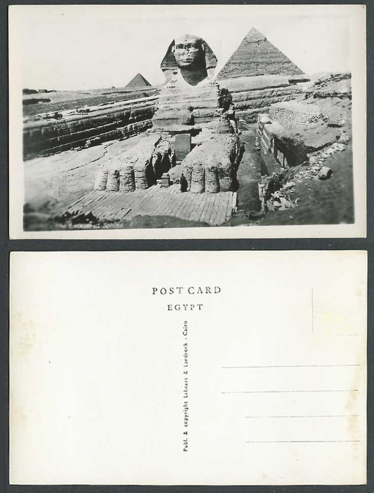 Egypt Old Real Photo Postcard Cairo The Excavated Sphinx, Giza Pyramids Le Caire