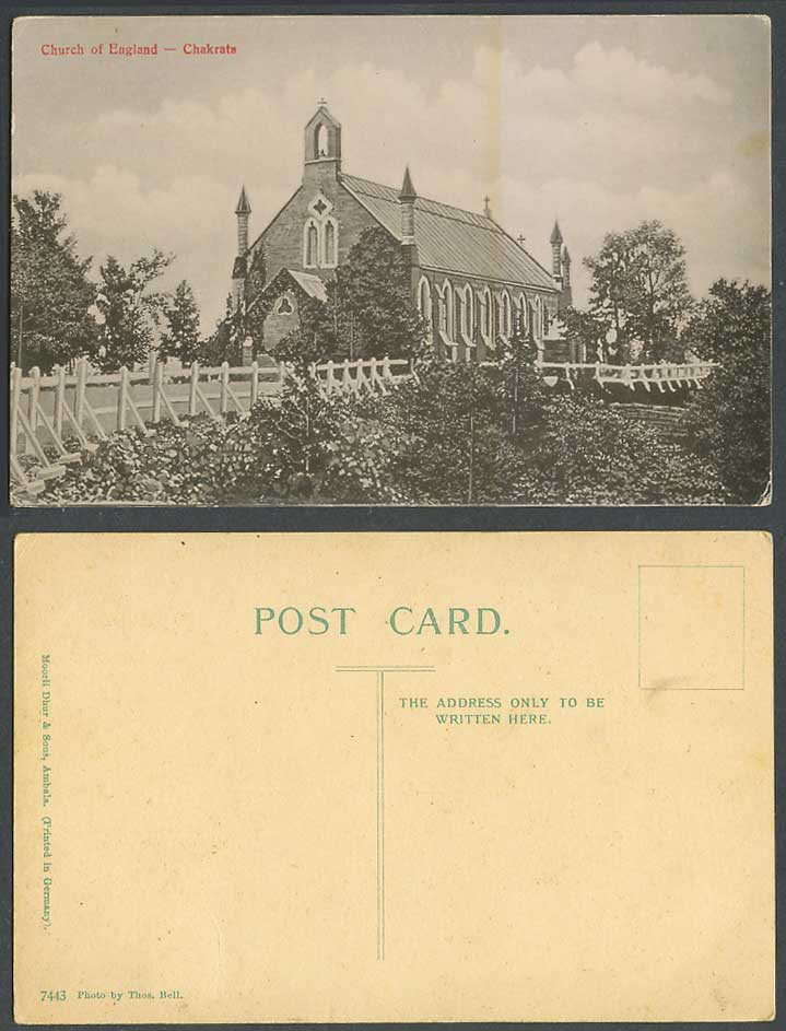 India Old Postcard Church of England Chakrata, Photo by Thos Bell Moorli No.7443