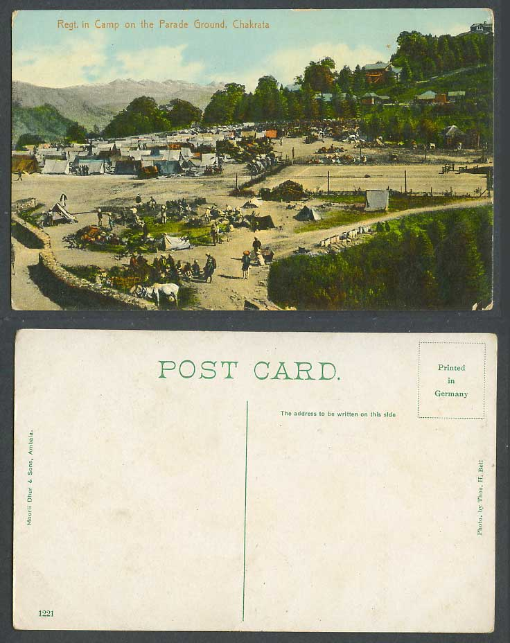 India Old Colour Postcard Regiment Regt. in Camp on Parade Ground Chakrata Tents