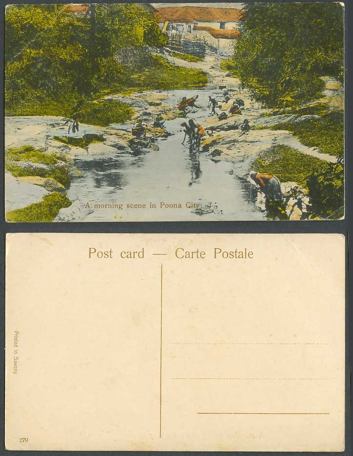 India Old Hand Tinted Postcard A Morning Scene in Poona City, River, Washerwomen