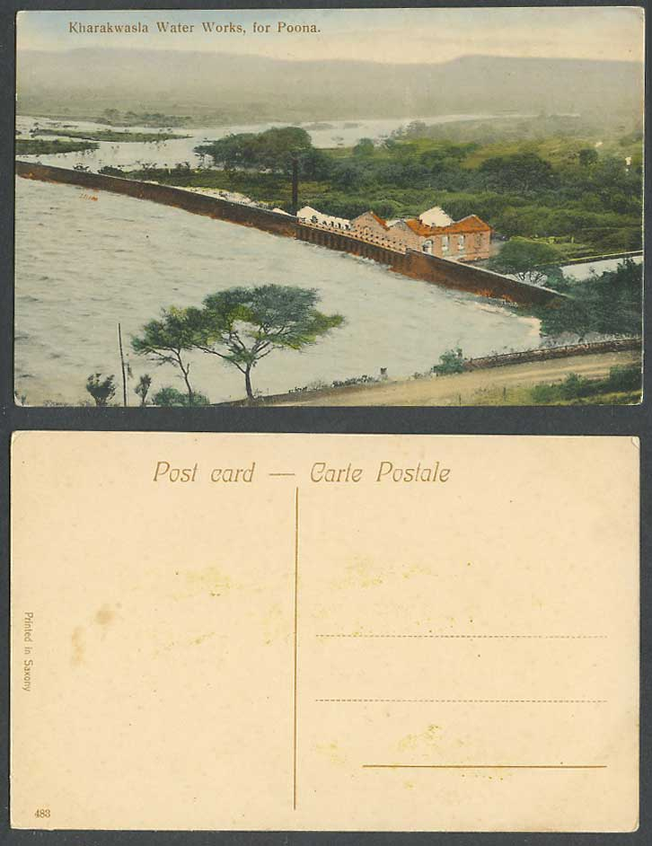 India Old Hand Tinted Postcard Kharakwasla Water Works for Poona Panorama No.483