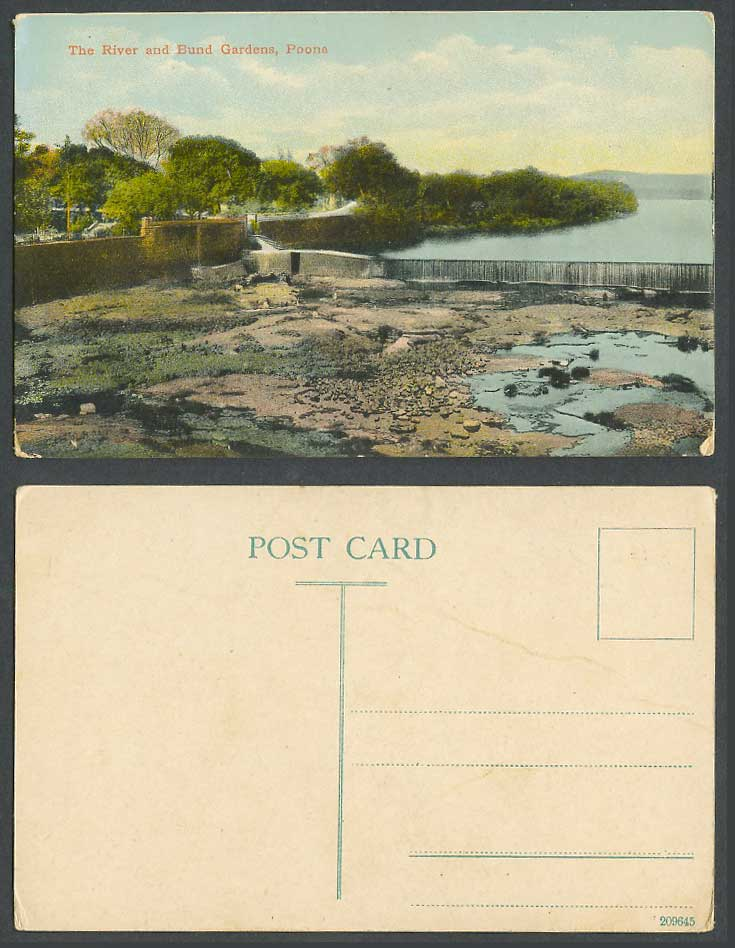 India Old Colour Postcard The River and Bund Gardens Poona Pune Waterfalls Steps