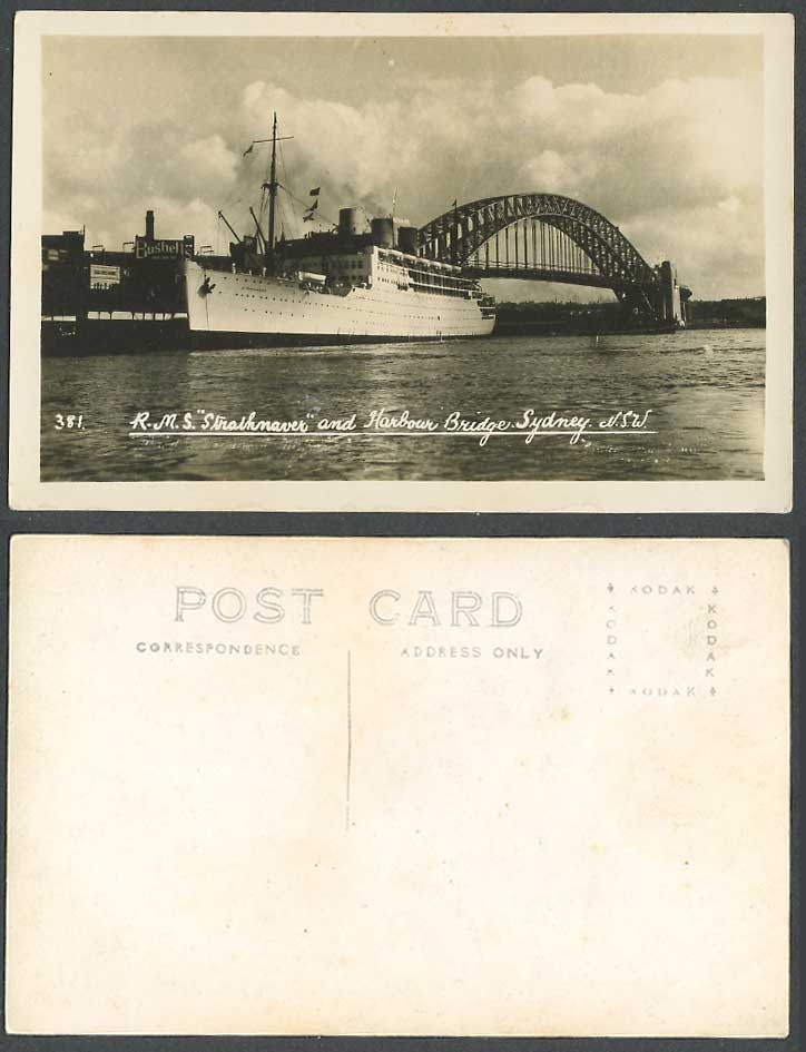 Australia Old Real Photo Postcard R.M.S. Strathnaver Ship, Harbour Bridge Sydney