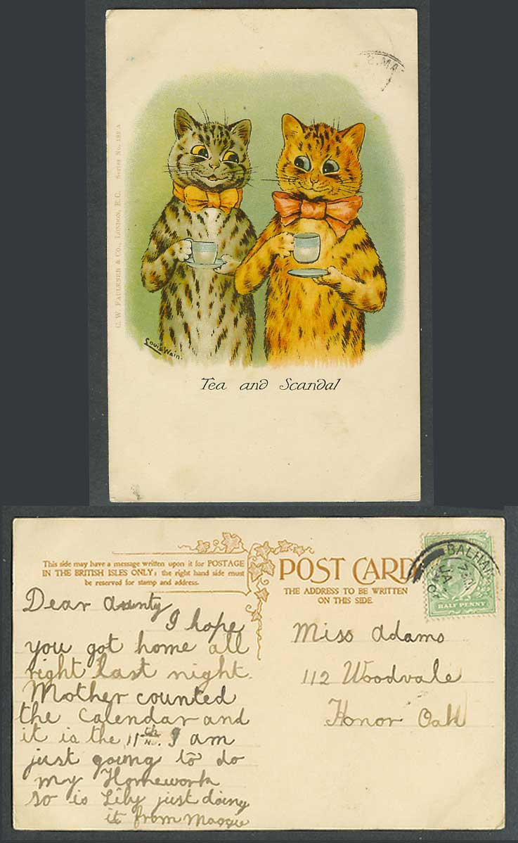 Louis Wain Artist Signed Cats Kittens Saucer Cup of Tea and Scandal Old Postcard