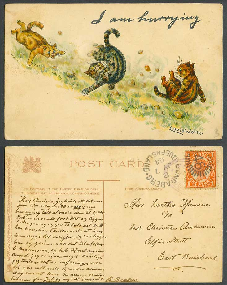 Louis Wain Artist Signed Cats, I am Hurrying Tuck's Write Away 1904 Old Postcard