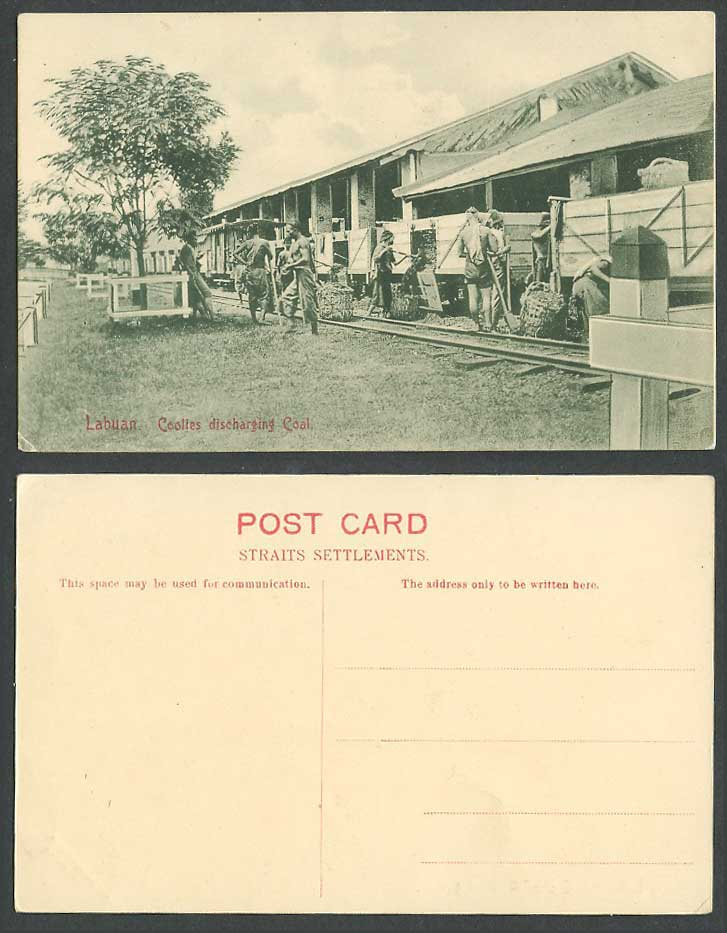 Labuan Old Postcard Coolies discharging Coal, Native Malay Workers, Ethnic Life