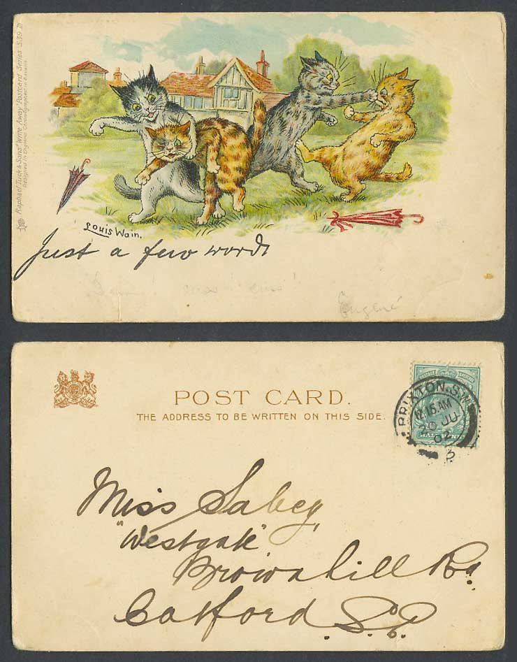 Louis Wain Cats Fighting Just a Few Words Tuck's Write Away 1902 Old UB Postcard