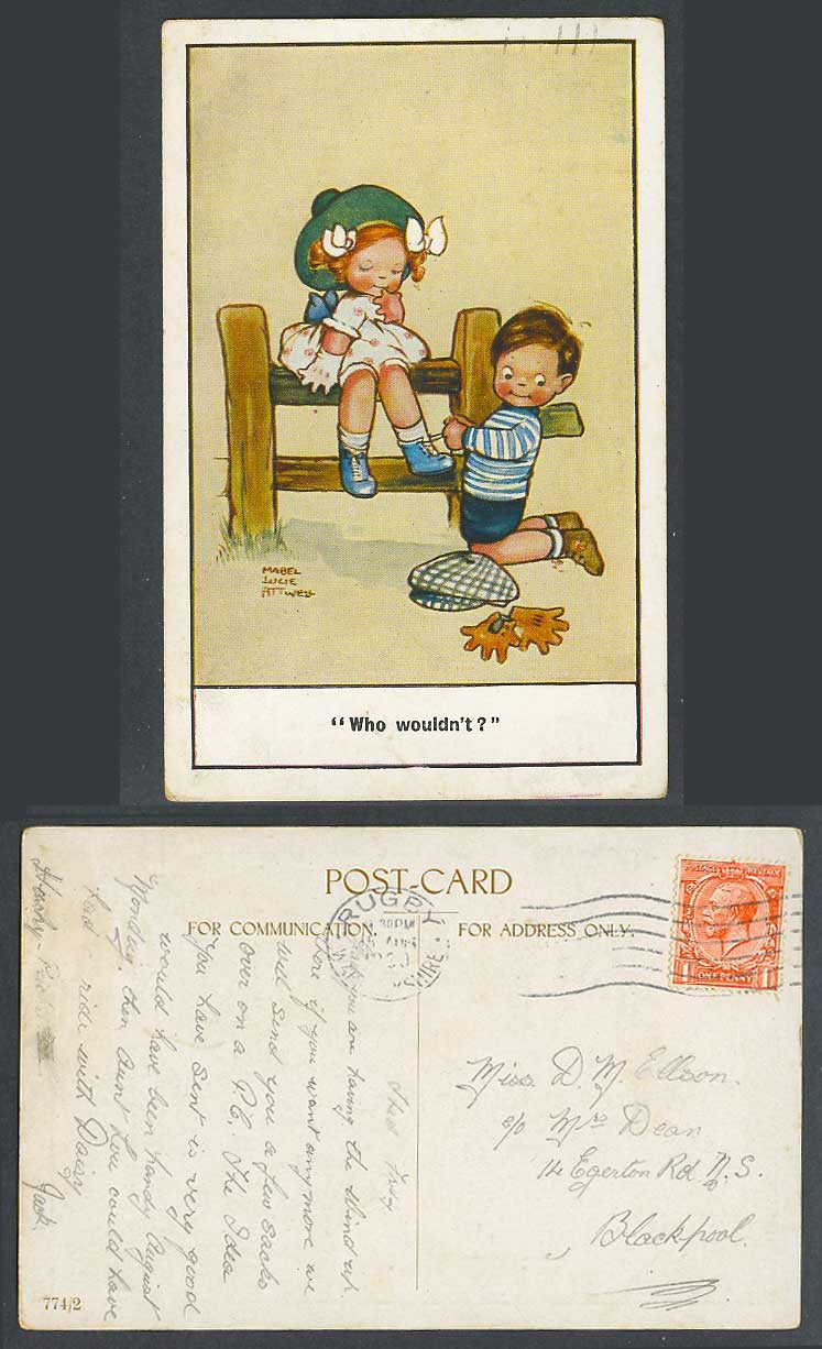 MABEL LUCIE ATTWELL 1930 Old Postcard Who Wouldn't? Boy tie Shoelaces Girl 774/2