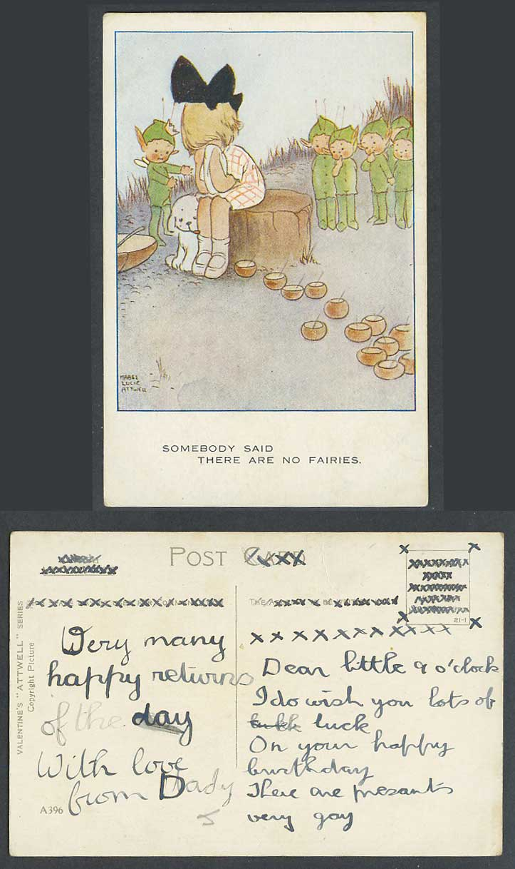 MABEL LUCIE ATTWELL Old Postcard Somebody Said There Are No Fairies Dog No. A396