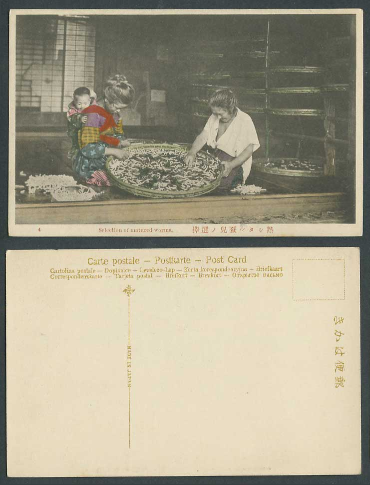 Japan Old Hand Tinted Postcard Matured Worms Selection Silkworms Women with Baby