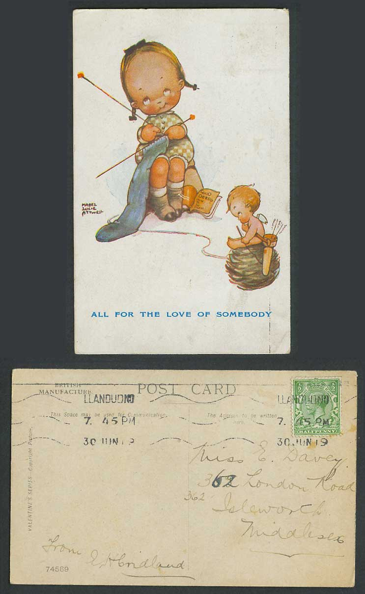 MABEL LUCIE ATTWELL 1919 Old Postcard For Love of Somebody. Knitting Cupid 74589