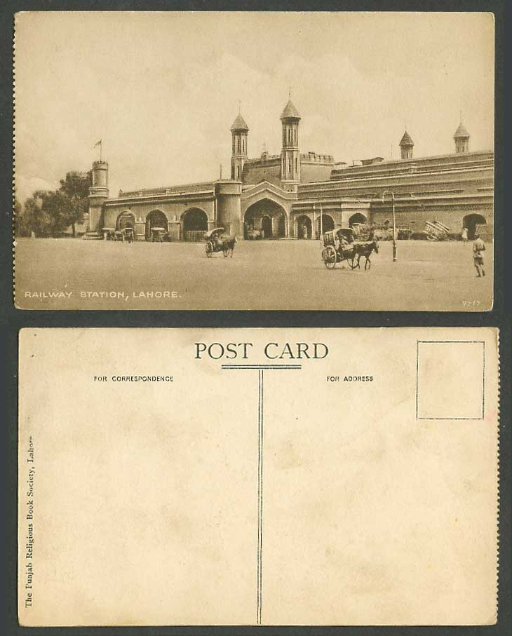 Pakistan Lahore, Train Railway Station, Horse Carts Old Postcard British India
