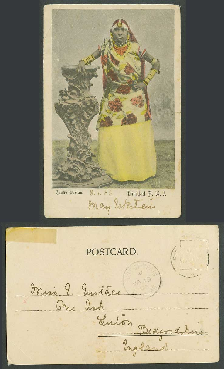 Trinidad 1906 Old Tinted Postcard Coolie Woman Indian Hindu Lady Costumes B.W.I.