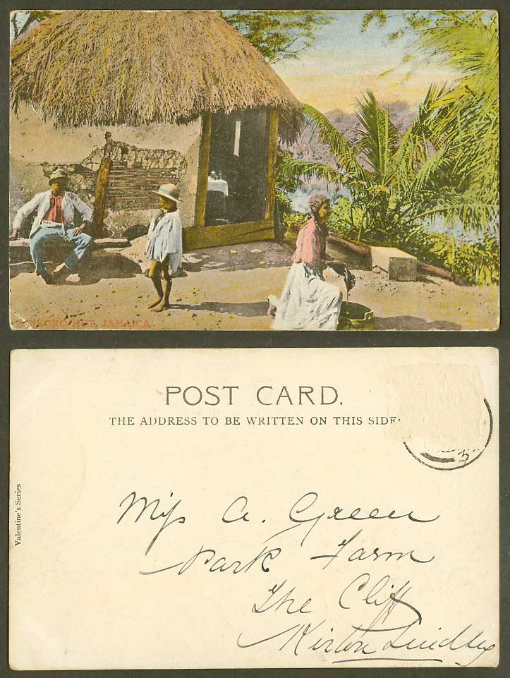 Jamaica Old Colour UB Postcard A Negro Hut House, Man Woman, British West Indies