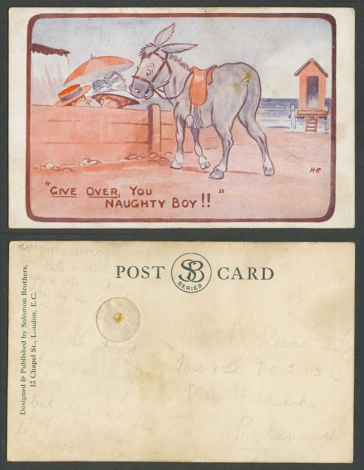 Donkey, Beach Bathing Machine, Give Over You Naughty Boy Comic H.P. Old Postcard
