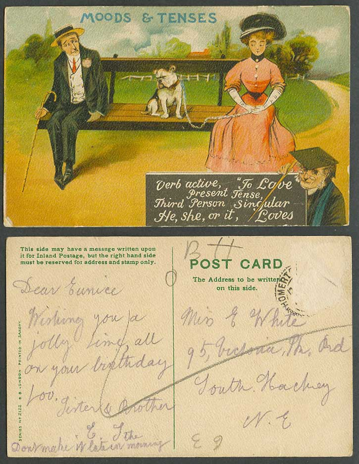 Bulldog Bull Dog Puppy Old Postcard Moods & Tenses, Verb Active TO LOVE Singular